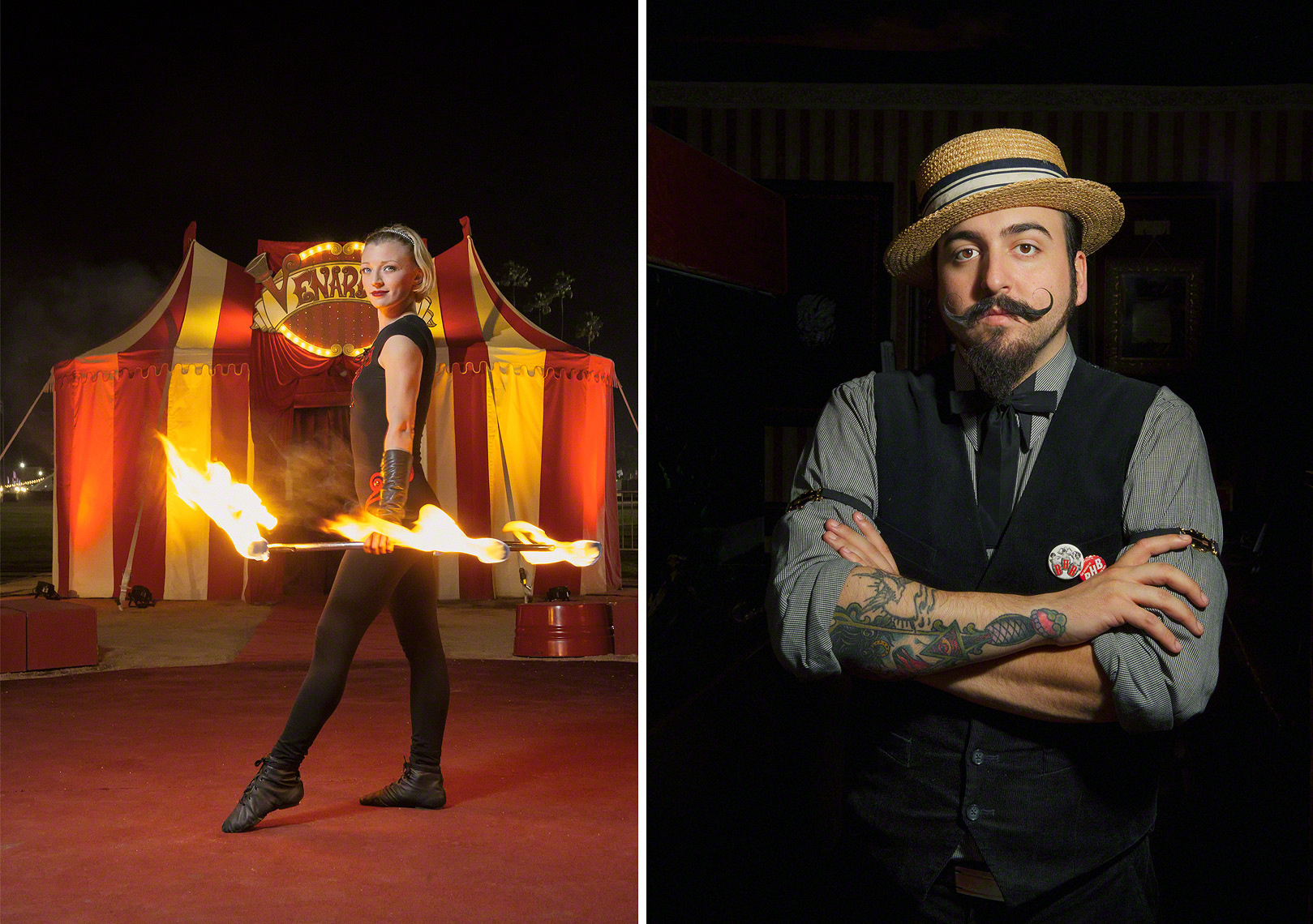 The Fire Spinner and Tattoo Artist